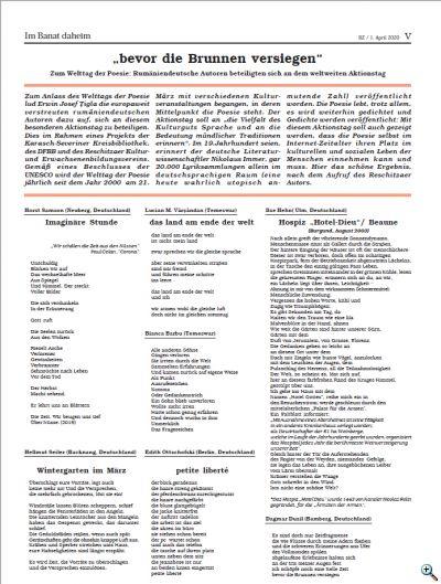 Welttag der Poesie 2020 Banater Zeitung Lyrikaufstellung